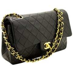 "CHANEL 2.55 Double Flap 10"" Chain Shoulder Bag Black Lambskin"