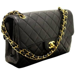 CHANEL Double Face Chain Shoulder Bag Black Quilted Flap Lambskin