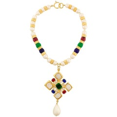 Chanel Multicolored Gripoix Cross Necklace