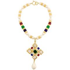 Chanel Multicolored Gripoix Cross Necklace