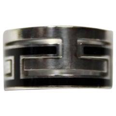 Hermès Vintage Moove Ring Silver 925 and enamel 11 USA Size