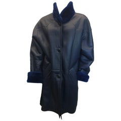 Tornopols Blue Shearling Leather Coat