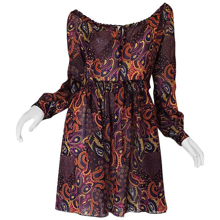Early 2000s Miu Miu Cotton Voile Purple Paisley Print Dress