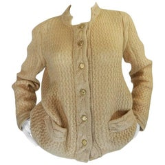 1970s Chanel Creations Camel Color Knit Sweater Cardigan