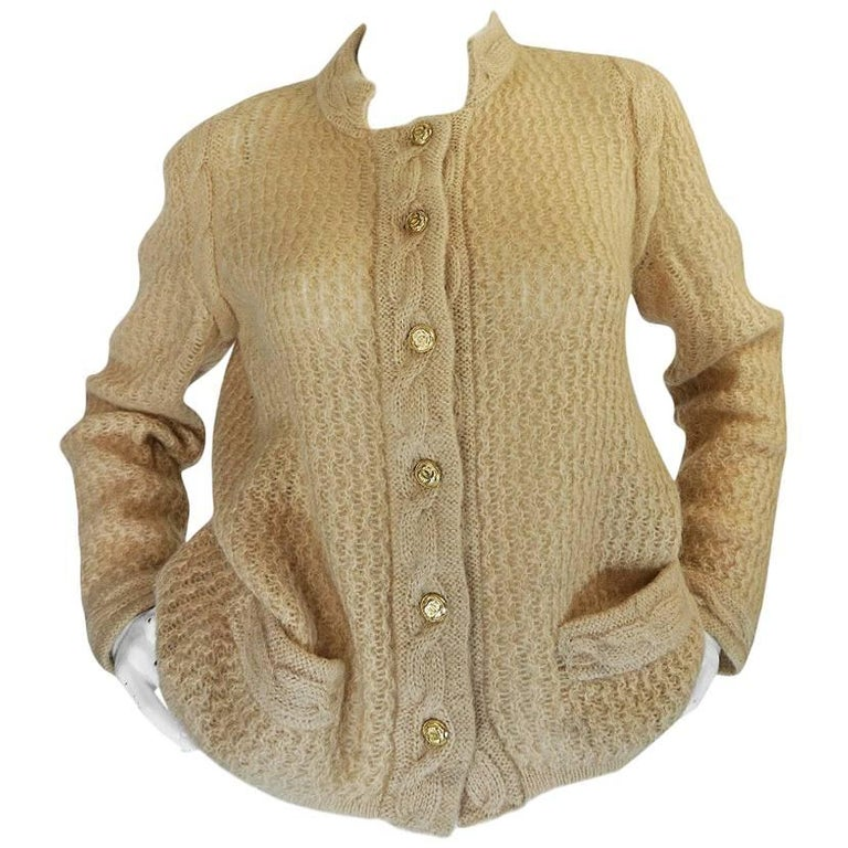 1970s Chanel Creations Camel Color Knit Sweater Cardigan 1