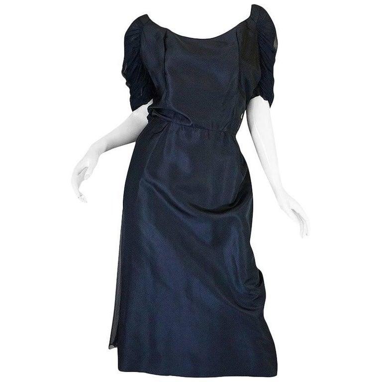 1950s Don Loper Blue Silk Dress w Chiffon Draped Back