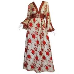 1970s Unlabelled Bill Blass Gold Lame & Red Silk Metallic Dress