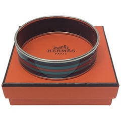 Hermes Belt Printed Enamel Silver Bangle
