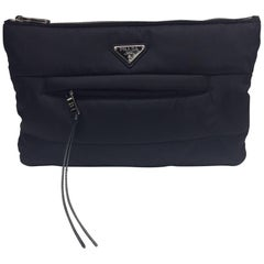Prada Nylon Black Zipper Clutch