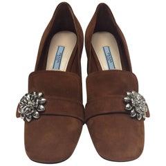 Prada Brown Suede Embellished Heels