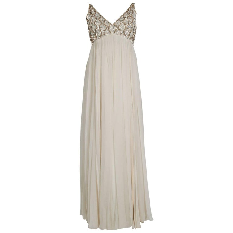 1960's Malcolm Starr Beaded Ivory-Creme Silk Chiffon Empire Plunge Goddess Gown
