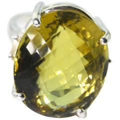 Unique Rare 31 Carat Glittering Lemon Quartz Silver Ring