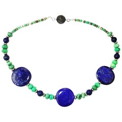 Statement Necklace in Lapis Lazuli, Chrysoprase, and Silver
