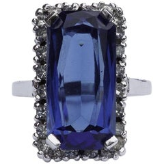 Panetta Sterling Blue Glass and Clear Rhinestones Cocktail Ring
