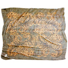 Iconic Yves Saint Laurent Large Silk Leopard Scarf Shawl Oversized 55in 1990s