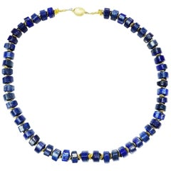 Triangular Rondels of Blue Lapis Lazuli and Gold Necklace