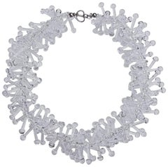 1980s Runway Clear Twisted Glass Statement Necklace