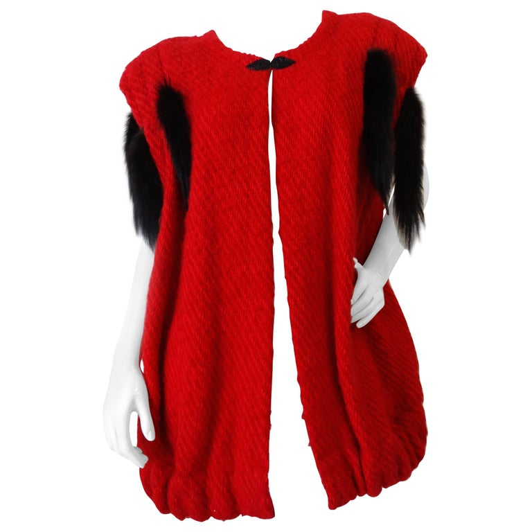 1980s Silver Lining Red Knit Mink Tail Vest For Sale