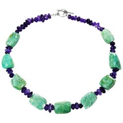 Chunky Amazonite and Tumbled Amethyst Necklace   February Birthstone