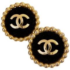Chanel Large Black Velvet and Gold Metal CC Logo Earrings 1986 Season 2 3