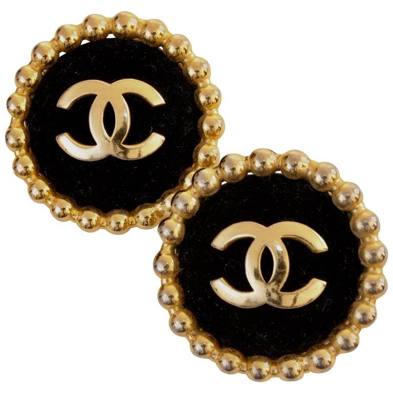 Chanel Large Black Velvet and Gold Metal CC Logo Earrings 1986 Season 2 3  1
