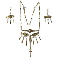 Armando Lozano Ramírez Surrealist Fish Face Necklace and Earrings Set