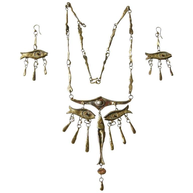 Armando Lozano Ramírez Surrealist Fish Face Necklace and Earrings Set For Sale