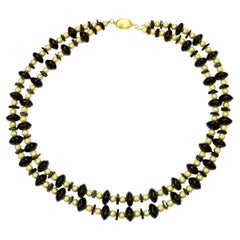 Double Strand Necklace of Smoky Quartz Rondels and Squares and Gold