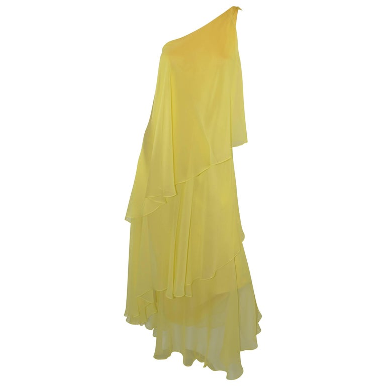 Halston 1970s Silk Chiffon One-Shoulder Gown With Shawl 1
