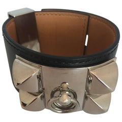Hermes Cuir Collier de Chien Black & Silver Leather Cuff Bracelet