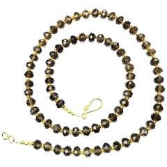 Sparkling, Faceted Rondels of Smoky Quartz Necklace