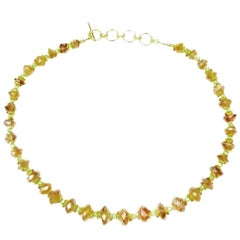 Gemjunky Graduated, Faceted Citrine Rondelles with Peridot and gold Necklace