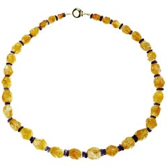 Graduated, Roughly Faceted Sparkling Citrine with Amethyst Accents Necklace