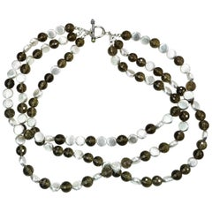 Triple Strand of Sparkling Round Faceted Smoky Quartz and Silver Necklace