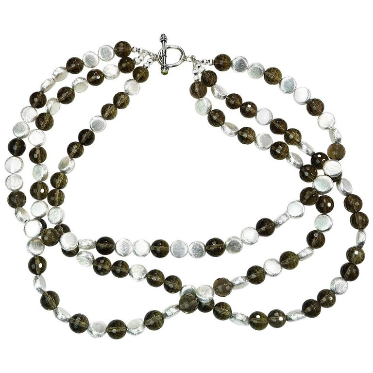 Triple Strand of Sparkling Round Faceted Smoky Quartz and Silver Necklace For Sale