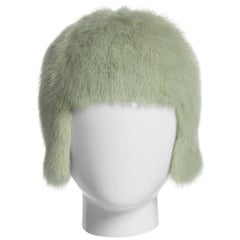 2013 Chanel Fall Runway Silver Green Fox Fur Helmut Hat