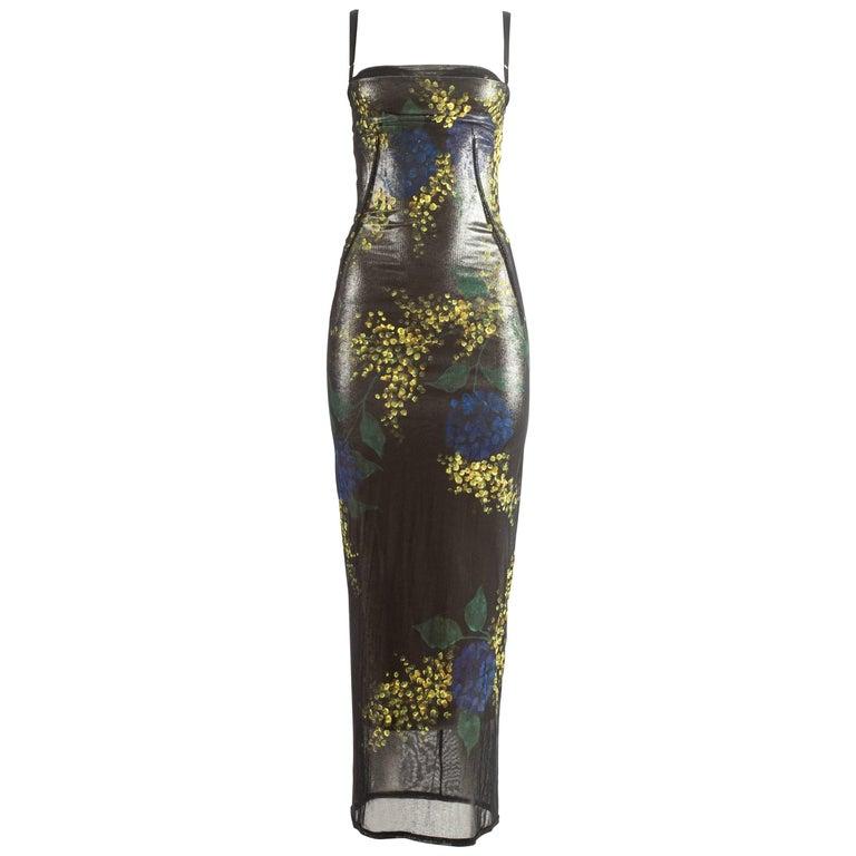 Dolce & Gabbana hand painted mesh evening dress, Autumn-Winter 1998