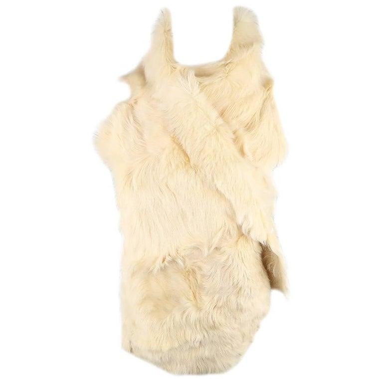 ANN DEMEULEMEESTER Size M Cream Beige Fur Shearling Wrap Vest 1