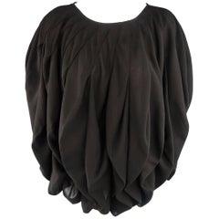 JUNYA WATANABE Size S Black Pleated Crepe Bubble Poncho Blouse