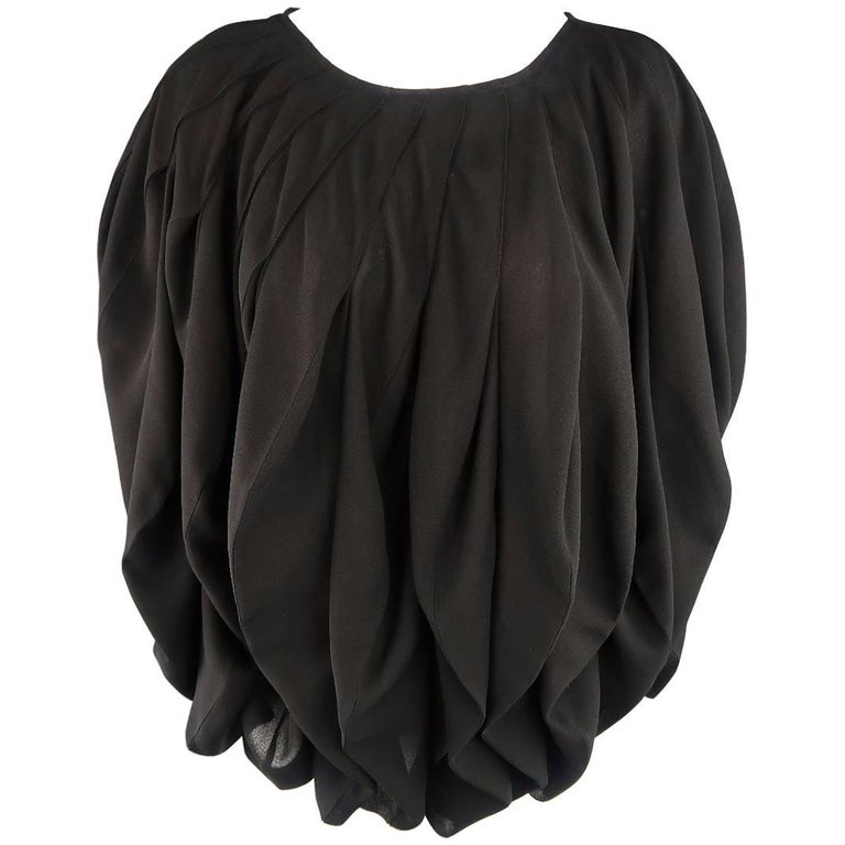 JUNYA WATANABE Size S Black Pleated Crepe Bubble Poncho Blouse For Sale