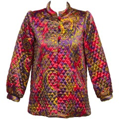1974 Yves Saint Laurent Russian Paisley Quilted Satin Jacket Documented YSL