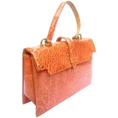 Lucille de Paris Sleek Peach Turtle Handbag c 1960