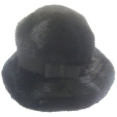 Saks Fifth Avenue Plush Mink Fedora Style Hat c 1970