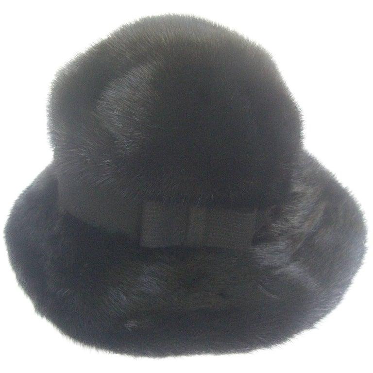 Saks Fifth Avenue Plush Mink Fedora Style Hat c 1970