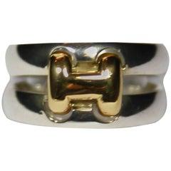 RARE Vintage Hermès H d'Hermès Ring Silver 925 and Gold 18k Size 11 US