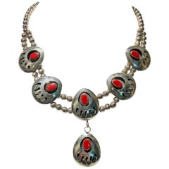Vintage Native American Style Sterling & Coral Squash Blossom Necklace