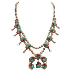 Vintage Navajo Sterling Turquoise & Coral Squash Blossom Necklace