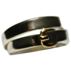 Hermès Vintage Ring Débridée Silver and gold 18k Size inside 13 USA