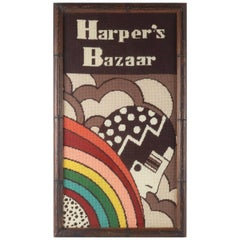 Art Deco 1970's Harper's Bazaar Needlepoint Wall Hanging