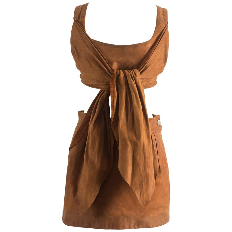 Vivienne Westwood Spring-Summer 1990 brown leather corset and mini skirt